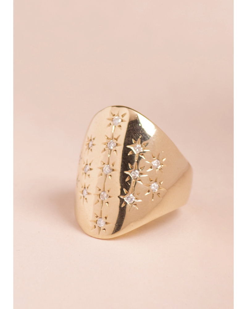 Antique 14k Gold and Diamond Shield Ring