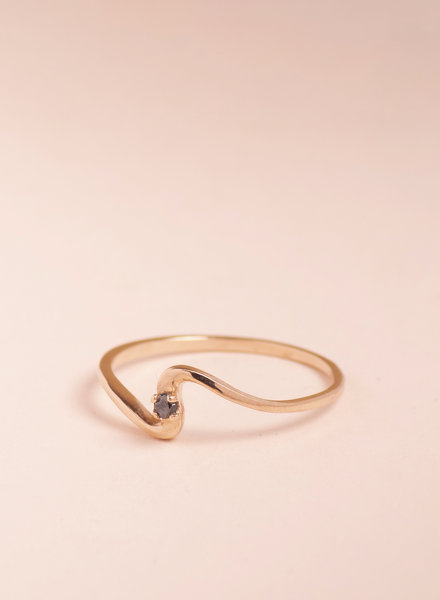 Rose Gold &  Black Diamond Wave Ring - Size 8