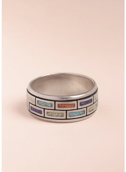Vintage Inlaid Multi-Stone Ring - Size 9
