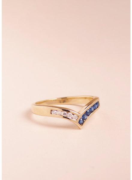 Vintage Sapphire & Diamond Chevron Ring - Size 6
