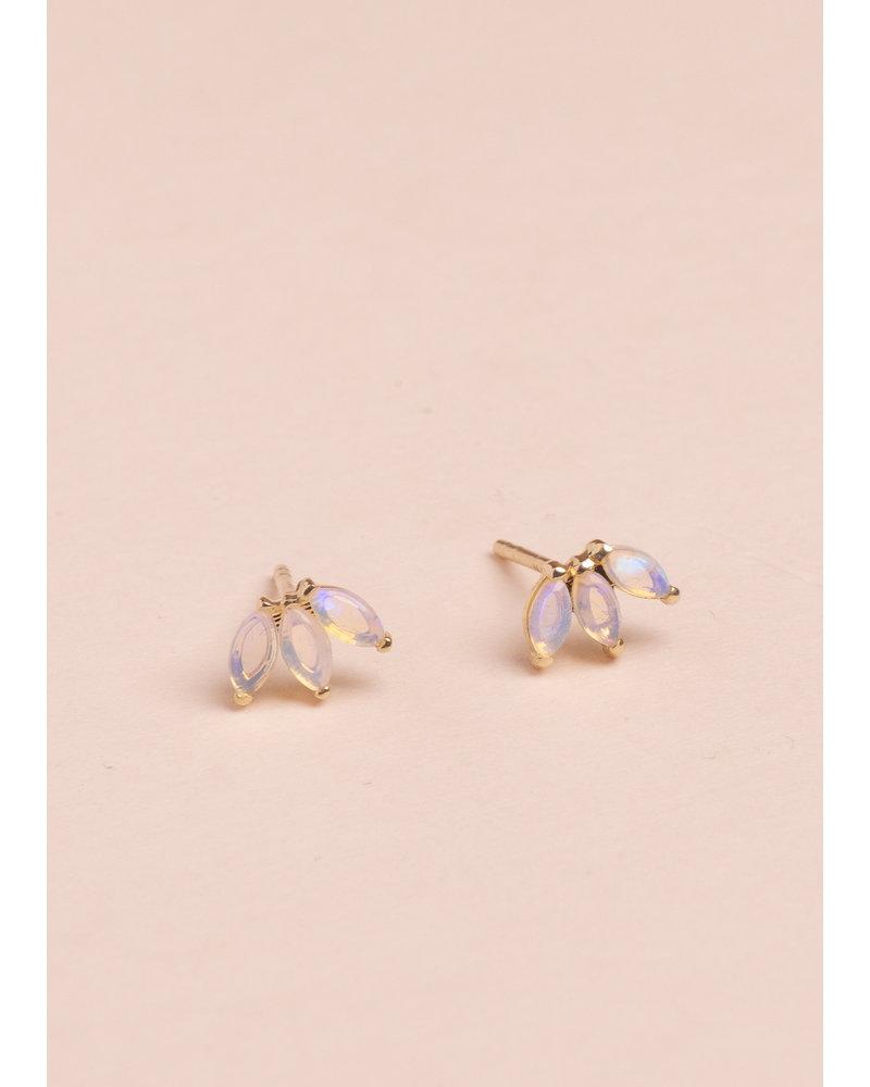 Opal Lotus Stud Earrings