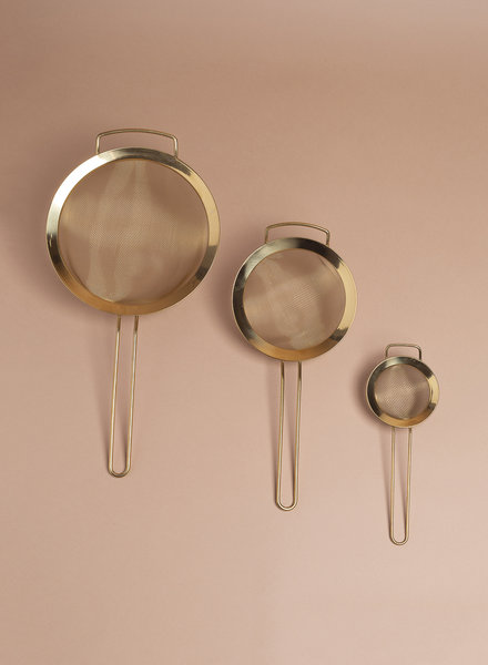 Gold Stainless Steel Sieve - Set of 3