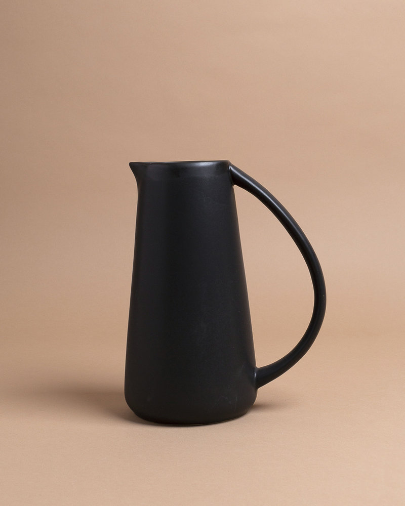 Black Round Stoneware Pitcher