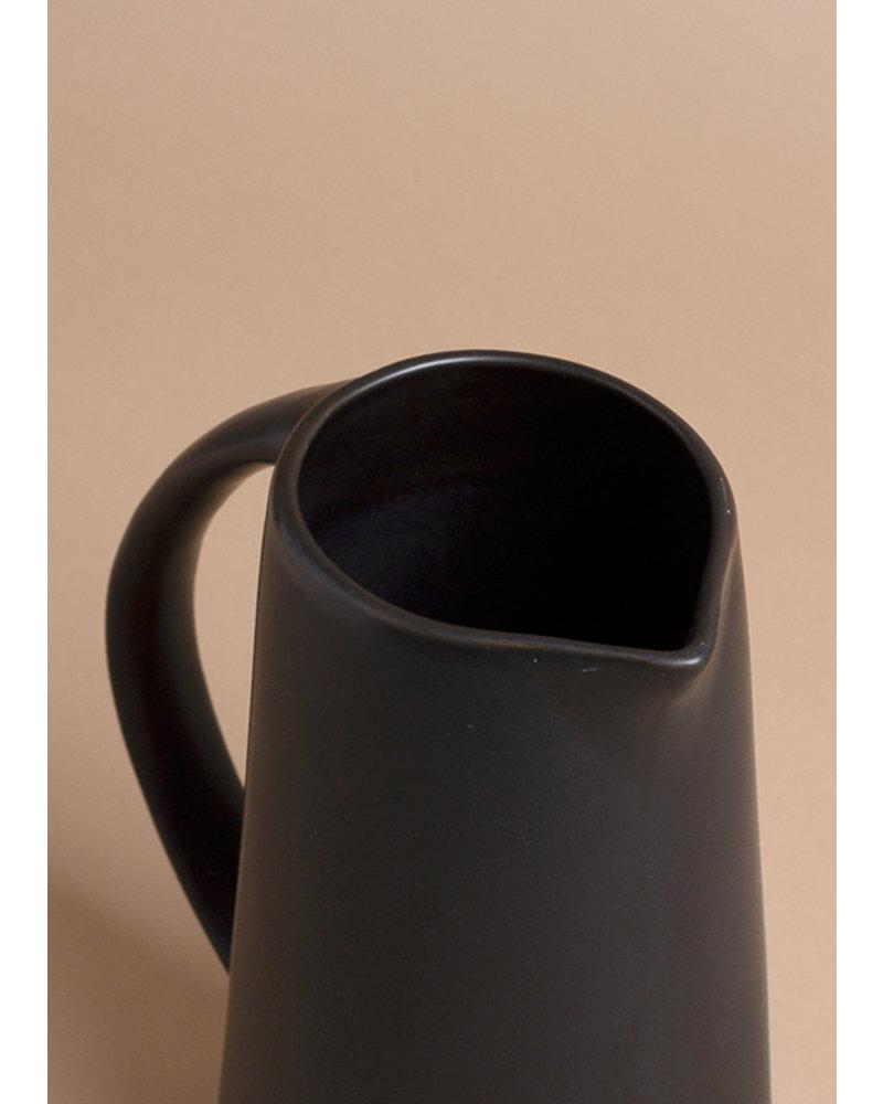 Black Round Stoneware Pitcher
