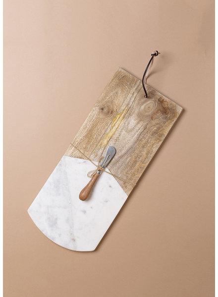 Marble and Mango Wood Cutting Board w/ Knife