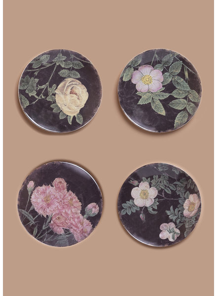 Vintage Roses Stoneware Plates