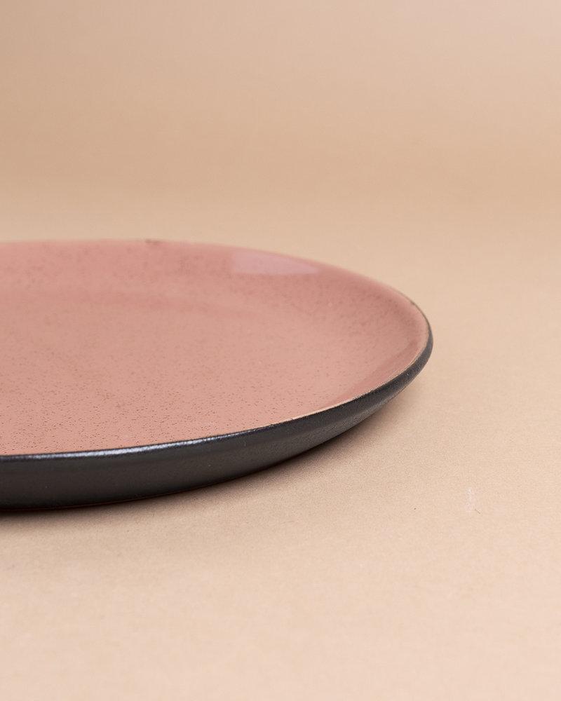Black and Rose Stoneware Glazed Plate