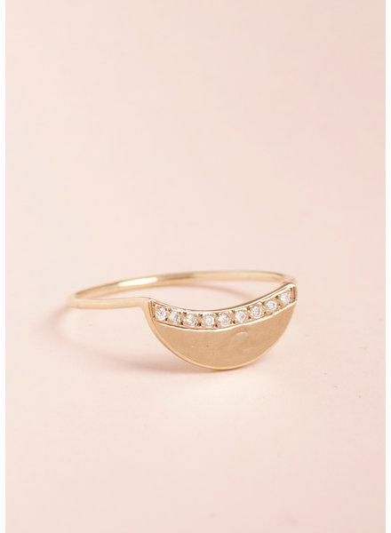 Diamond Crescent Moon Ring - Size 7