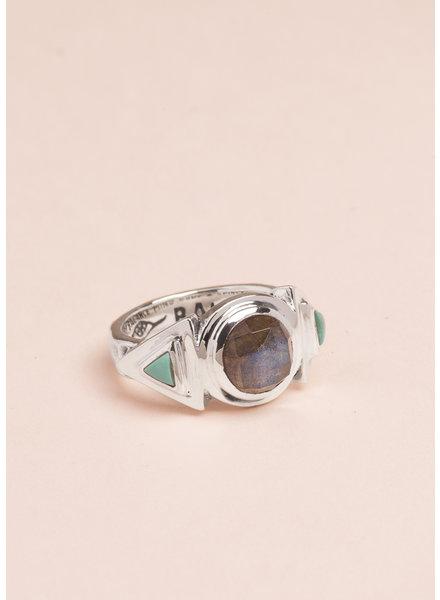 Labradorite Hemisphere Ring - Size 7