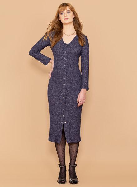 Metallic Rib Buttondown Dress