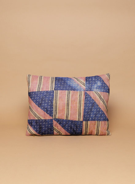 Dakota Blue & Pink Patchwork Pillow