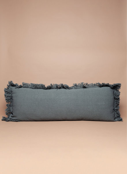 Green Cotton Fringe Lumbar Pillow