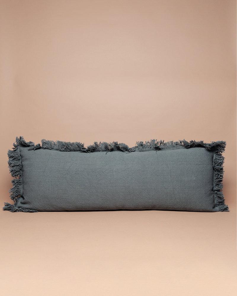 Green Cotton Fringe Lumbar Pillow