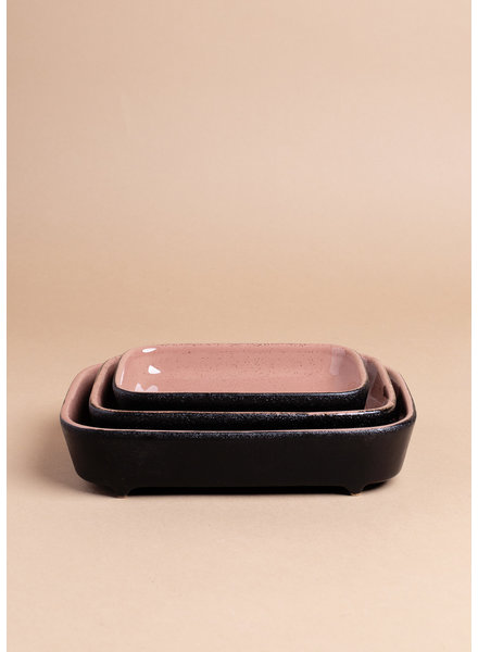 Black and Rose Stoneware Bake Set ( set of 3 )