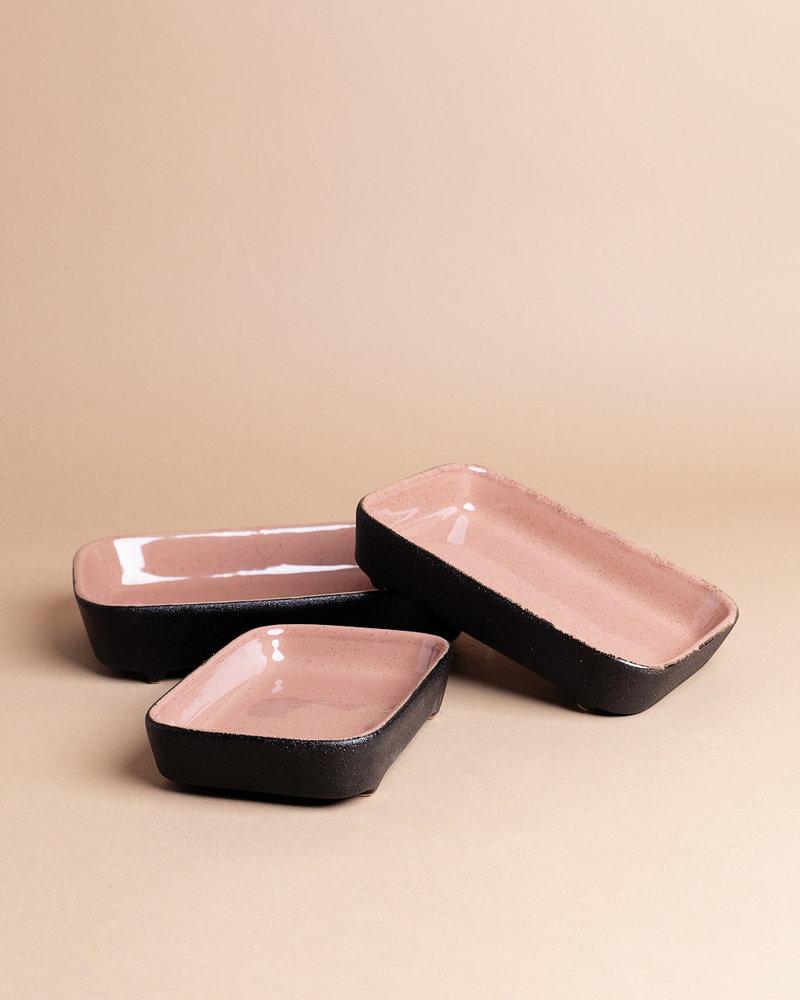 Black and Rose Stoneware Bake Set ( set of 3 )