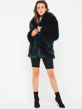 Premium Rose Teal Fur Jacket