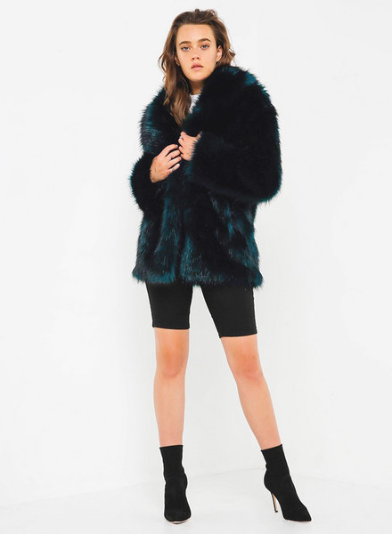 Premium Rose Teal Fur Jacket