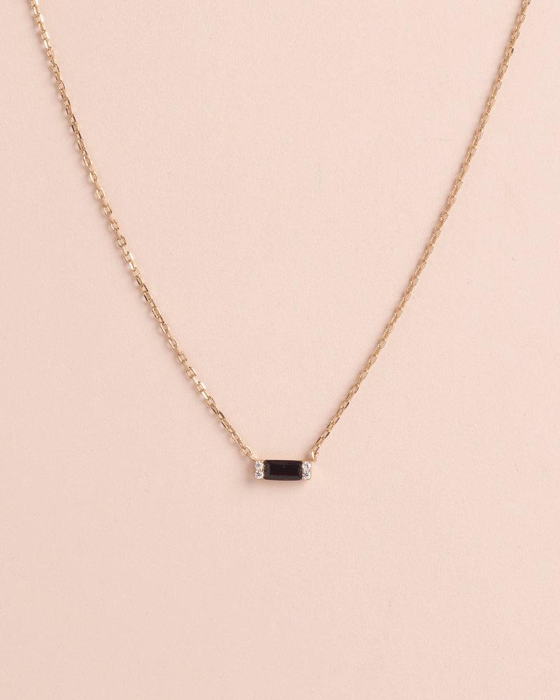Black Diamond Baguette Bar Necklace