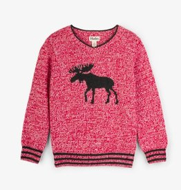 HATLEY MOOSE ON RED V-NECK SWEATER