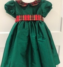 SUSANNE LIVELY DRESS WITH PLAID COLLAR & SASH
