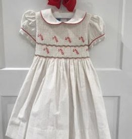 ANAVINI CANDY CANE CORD DRESS W/BLOOMERS
