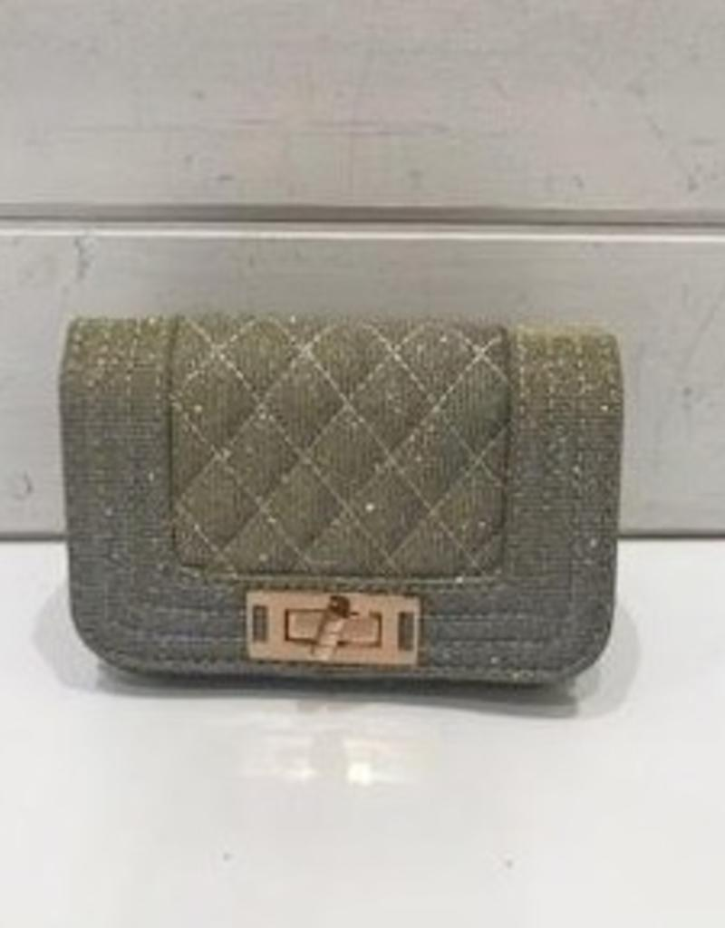 AMIANA ACCESS.INC GOLD QUILTED FLAP PURSE