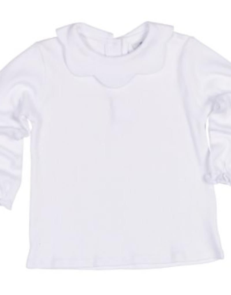 FLORENCE EISEMAN FLORENCE EISEMAN GIRLS LONG SLEEVE KNIT BLOUSE W/SCALLOPED COLLAR