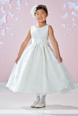 JOAN CALABRESE JOAN CALABRESE GIRLS SATIN & ORGANZA W/LACE APPLIQUE DRESS