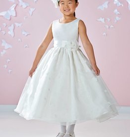JOAN CALABRESE GIRLS SATIN & ORGANZA W/LACE APPLIQUE DRESS