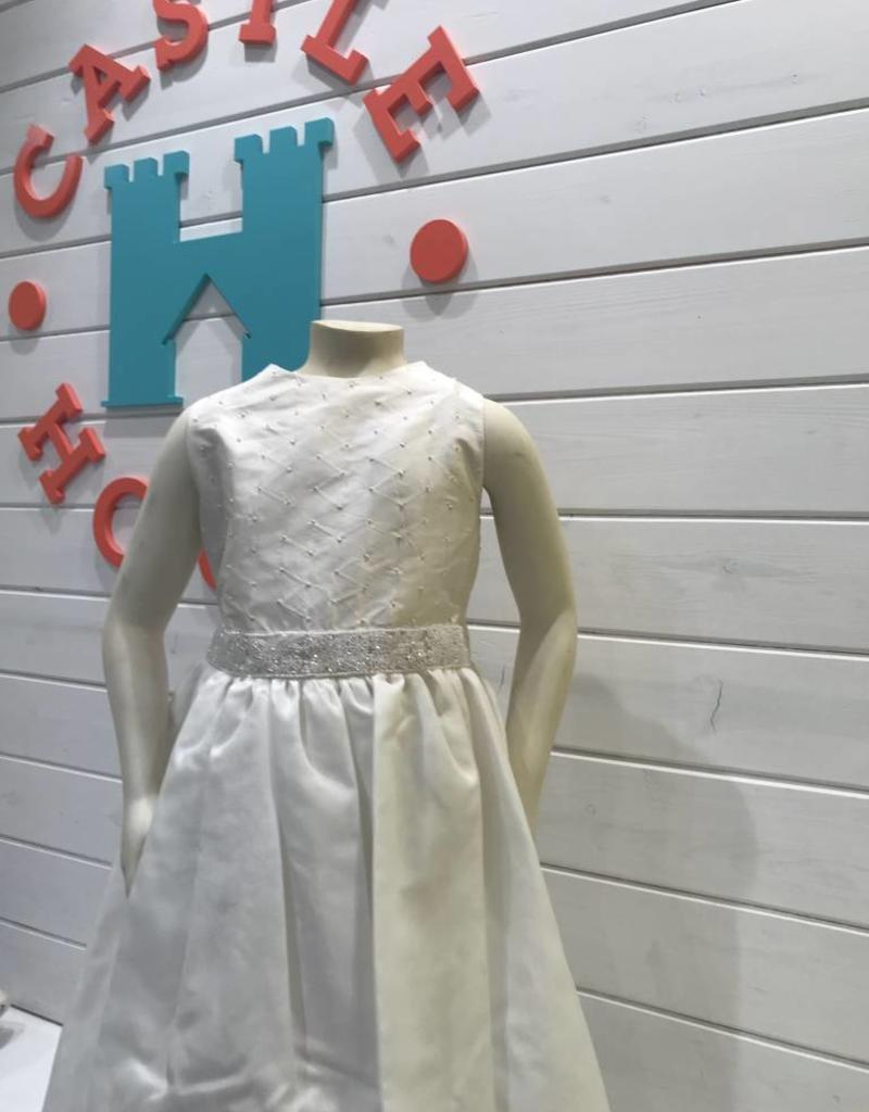 SUSANNE LIVELY SUSANNE LIVELY GIRLS SILK FRENCH KNOT BODICE W/ORGANZA SKIRT