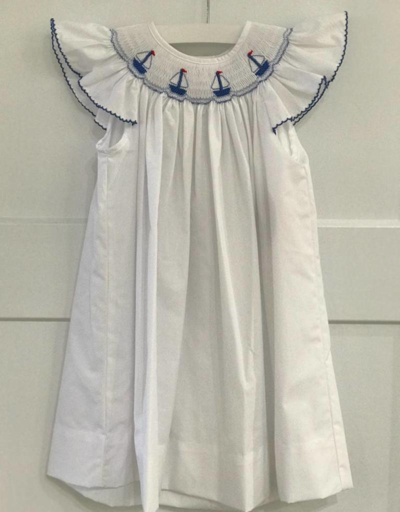 PETIT BEBE GIRLS SAILBOATS ANGEL WING POPLIN DRESS