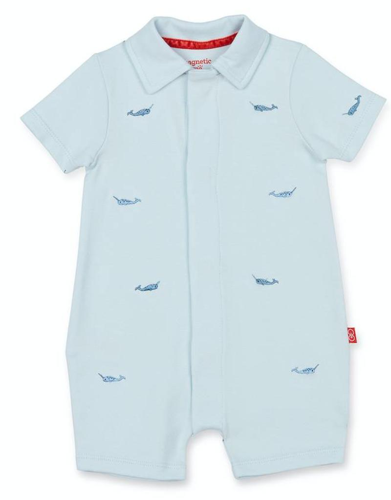 MAGNIFICENT BABY MAGNIFICENT BABY NARWHAL POLO ROMPER