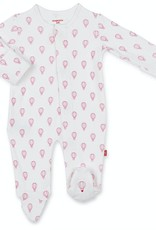 MAGNIFICENT BABY MAGNIFICENT BABY PINK OPEN SKY ORGANIC  COTTON FOOTIE