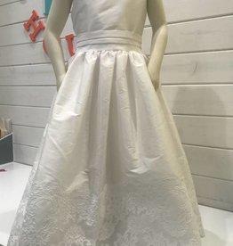 SUSANNE LIVELY FAUX SILK DRESS W/LACE TRIM