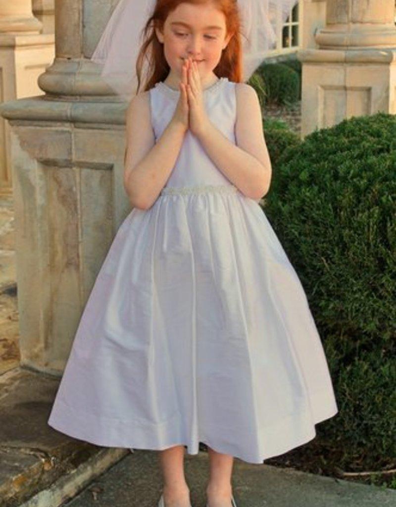 SUSANNE LIVELY SUSANNE LIVELY DUPIONI SILK DRESS W/TRIM ON NECK & WAIST