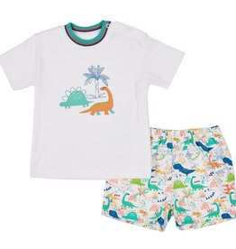 FLORENCE EISEMAN HAPPY TIERS DINO T-SHIRT W/PULL-ON SHORT