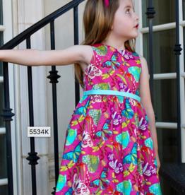 SUSANNE LIVELY BUTTERFLY PRINT DRESS (SIZES 4-6X)