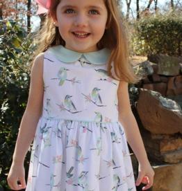 SUSANNE LIVELY BIRD PRINT DRESS W/COLLAR (SIZE 4 - 6X)