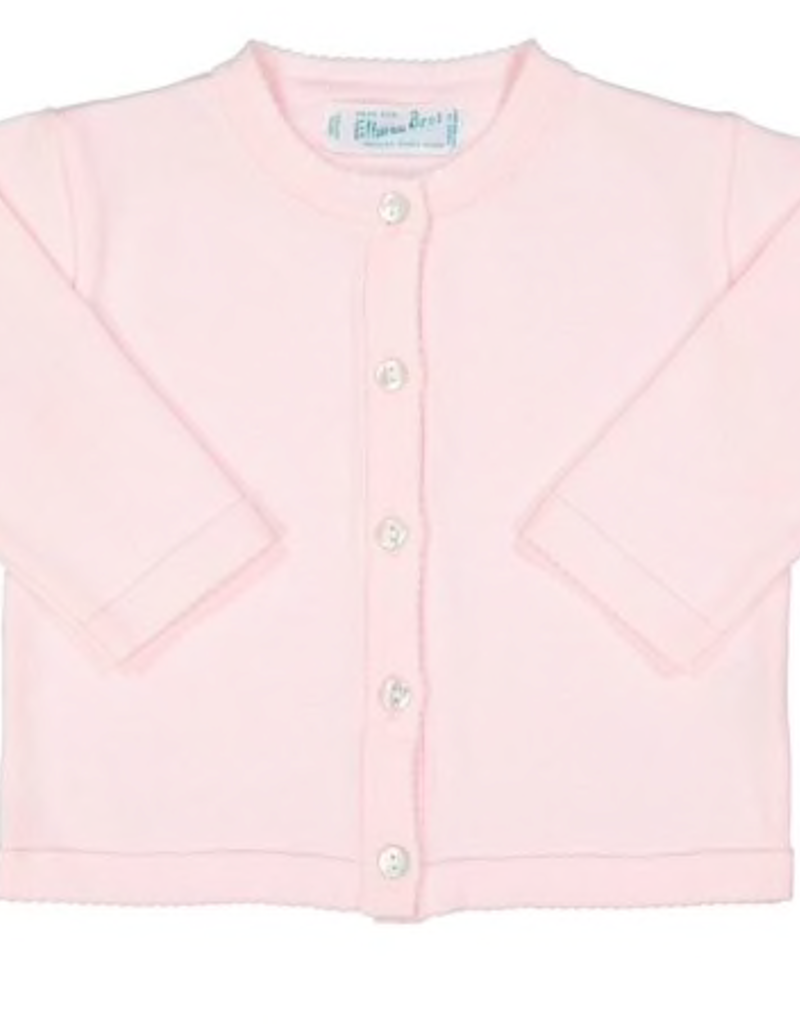 FELTMAN BROS LIGHT PINK CLASSIC KNIT CARDIGAN (SIZES 12 & 18 MONTHS)