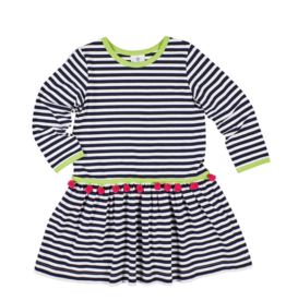 FLORENCE EISEMAN APPLES TO APPLES STRIPE KNIT DRESS W/POM POMS