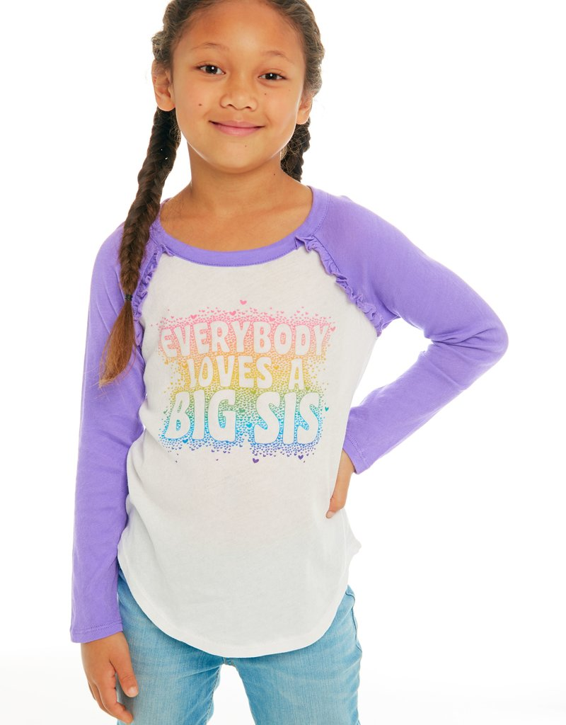 CHASER CHASER BIG SISTER/LITTLE SISTER COTTON GAUZY RUFFLE T-SHIRT