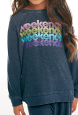 CHASER CHASER COZY WEEKENDS KNIT RAGLAN PULLOVER