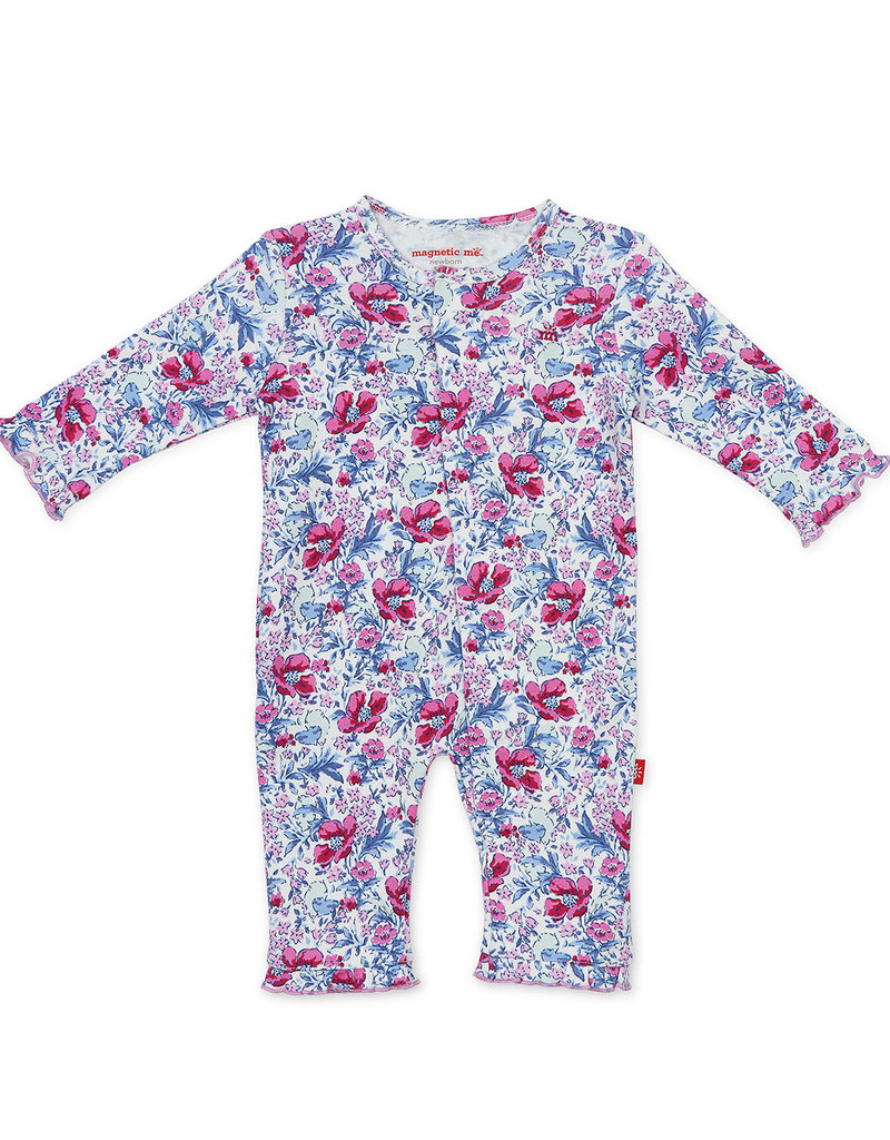 MAGNIFICENT BABY MAGNETIC ME DARLINGTON FLORAL ORGANIC COTTON COVERALL