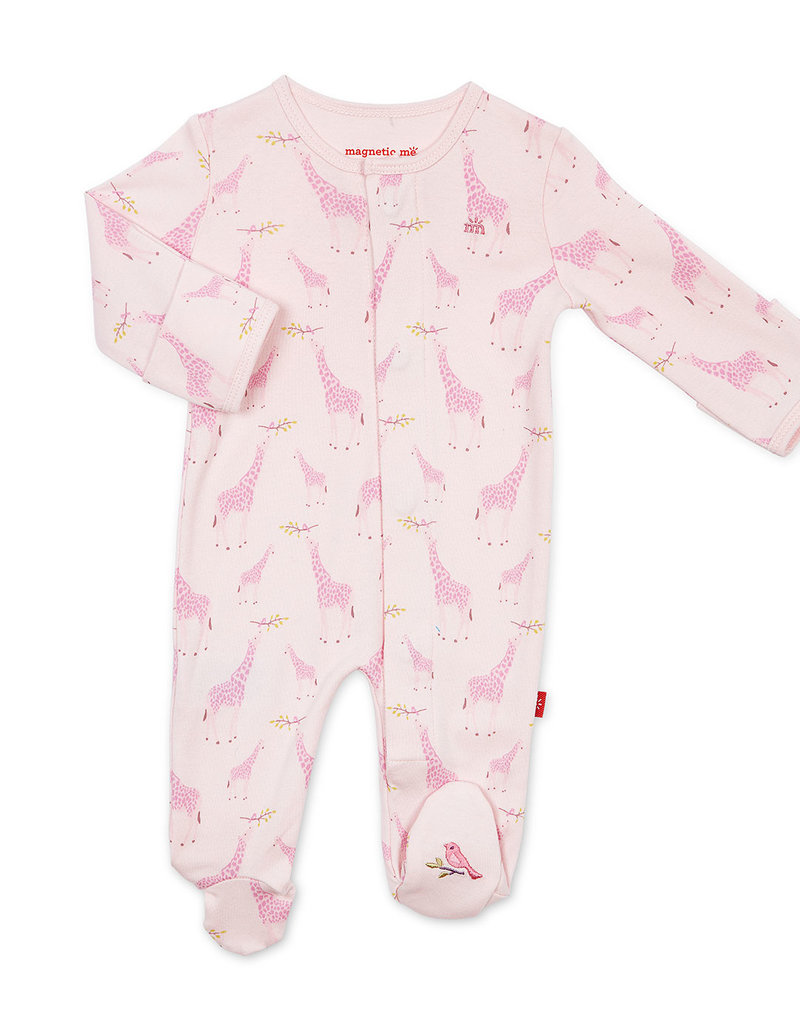 MAGNIFICENT BABY MAGNETIC ME JOLLE GIRAFFE ORGANIC COTTON FOOTIE