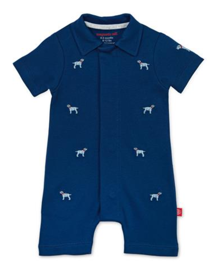 MAGNIFICENT BABY MAGNETIC ME BEST IN SHOW ORGANIC COTTON POLO ROMPER