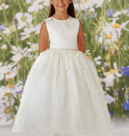JOAN CALABRESE JOAN CALABRESE BEADING, 3D FLOWERS,SATIN ALLOVER LACE & TULLE DRESS