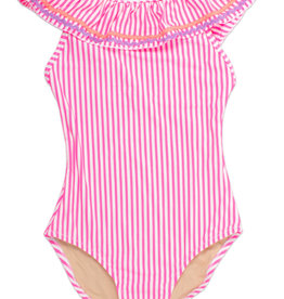 SHADE CRITTERS/8 OAK LANE PINK 1PC OFF THE SHOULDER SWIMSUIT