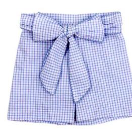 BAILEY BOYS GIRLS BLUE  WINDOWPANE SEERSUCKER SHORT W/BOW