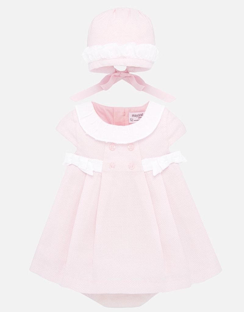MAYORAL MAYORAL DRESS W/BONNET & PIQUE PANTY