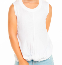 CHASER GAUZY COTTON KNOT FRT MUSCLE TANK